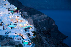 Greek Tourism. In santorini island hotel lodging Royalty Free Stock Photo