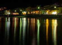 Greek tourist town at night on the island of Kefalonia in the Ionian Sea in Greece royalty free stock image