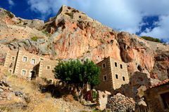 Greek town of Monemvasia with Byzantine buildings on the side of a mountain, Greece Royalty Free Stock Photo