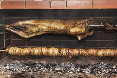 Greek traditional grill food kokoretsi Stock Photography