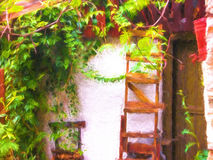 Greek traditional house at Olympos in Greece Stock Photography