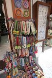 Greek traditional knitted shoes and souvenirs. Rhodes island Stock Photography