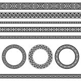 Greek traditional meander border and round frame set Stock Photo