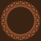 Greek traditional round frame in golden color. Royalty Free Stock Image