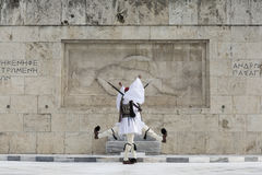 Greek traditional soldiers  front of the tomb of the Unknown Sol Royalty Free Stock Photos