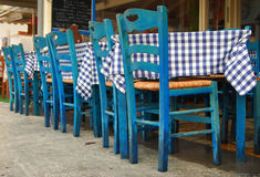 Greek traditional tavern on the street. Traditional greek tavern by the sea Stock Photography
