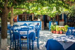 Greek traditional tavern on the street Royalty Free Stock Photo