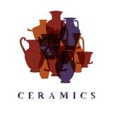Greek traditional terracota vases ceramics promo poster card, vector Stock Image