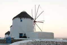 Greek traditional windmill in the greek island of Mykonos Royalty Free Stock Images