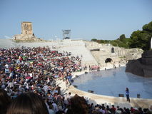 Greek tragedies-2011. Scene of the Greek Siracusa's theatre. Here every year in June Greek tragedies are performed. This time is the 47th Cycle of Classical royalty free stock photography