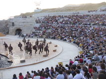 Greek tragedies-Ajax. Scene of the Greek tragedy Ajax performed in Siracusa's theatre. The tragedies are performed every year in Siracusa's greek theatre in June Stock Photos