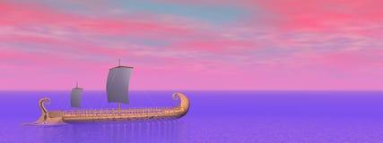 Greek trireme boat - 3D render Stock Photo
