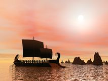Greek trireme boat - 3D render Stock Images