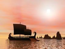 Greek trireme boat - 3D render Stock Images