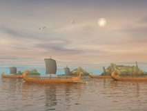 Greek trireme boats - 3D render Royalty Free Stock Images