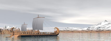 Greek trireme boats - 3D render Stock Photos