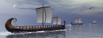 Greek trireme boats - 3D render Royalty Free Stock Image