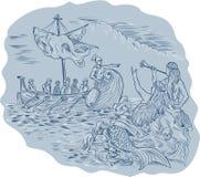 Greek Trireme Navigator Pointing Avoiding Sirens Drawing Royalty Free Stock Photo