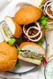Greek turkey burgers tzatziki sauce. Selective focus Royalty Free Stock Images