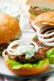Greek turkey burgers tzatziki sauce. Selective focus Royalty Free Stock Photo