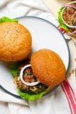 Greek turkey burgers tzatziki sauce. Selective focus Stock Images