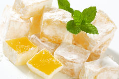 Greek Turkish delight. Greek loukoumi Turkish delight with delicious Mastic flavor royalty free stock image
