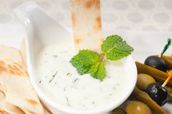 Greek Tzatziki yogurt dip and pita bread Stock Images