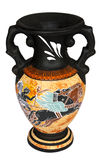 Greek Vase. Replica of antique Greek vase isolated on a white background. It depicts Apollo riding the Chariot of the Sun Stock Image