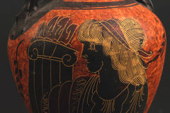Greek Vase. Relief painted on an ancient greek vase Stock Photo
