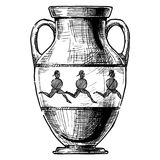 Greek vase. Amphora. Amphora. Vector hand drawn sketch of ancient greek vase Stock Images