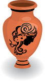 Greek vase with female profile Royalty Free Stock Images