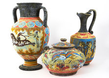 Greek vases. On white background Stock Images