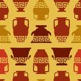 Greek vases, Meander ornament. Seamless pattern. Greek vases with meander ornament. Seamless pattern. Ethnic art Royalty Free Stock Photography