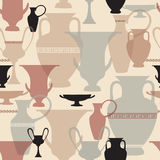 Greek vases pattern. Interiors tiled  background. Ancient Athens seamless texture. Stock Photography