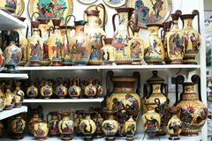 Greek vases in a souvenir shop royalty free stock images