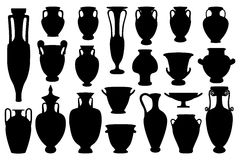Greek vases. Vector silhouettes collection of 21 ancient greek vases  on white background. Eps file available - editable elements for your design Royalty Free Stock Photography