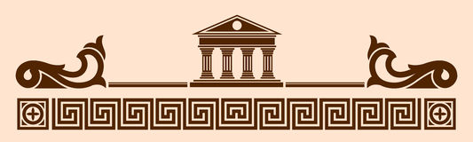 Greek. Vector Greek ornament. Temple of the Olympian gods with columns and graphic elements Royalty Free Stock Photography