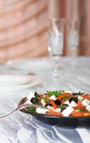 Greek vegetable salad with feta cheese Stock Image