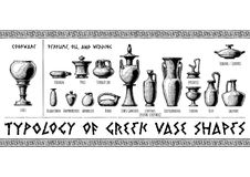Greek vessel shapes. Typology of Greek vase shapes. Perfume, oil, wedding vessels and cookware. Illustration in vintage engraving style royalty free illustration