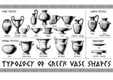 Greek vessel shapes. Typology of Greek vase shapes. Wine, mixing, water vessels and tableware. Illustration in vintage engraving style vector illustration