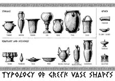 Greek vessel shapes. Typology of Greek vase shapes. Storage, funerary, religious and other vessels. Illustration in vintage engraving style vector illustration