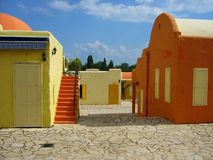 Greek village. Colorful houses in a greek village Stock Images