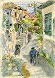 Greek village. Narrow street in old Greek village on Zakynthos island Royalty Free Stock Image