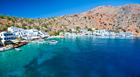 Greek village. A small village by the sea, near Chora Sfakia, Loutro,  reached only by ship, on the southcoast of Crete / Greece Stock Images