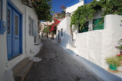 Greek Village. With Blue Door Stock Photo