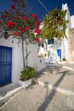 Greek Village. Corner With Blue Doors and Windows Stock Photos