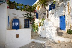 Greek Village. Corner With Blue Doors and Windows Stock Photography