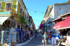 Greek village commercial street Royalty Free Stock Images
