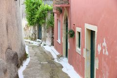 Greek village. At the island of Corfu - Makrades Royalty Free Stock Photos