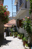 Greek village lane Royalty Free Stock Photo